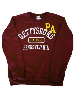 Adult Maroon and Gold Gettysburg Sweatshirt