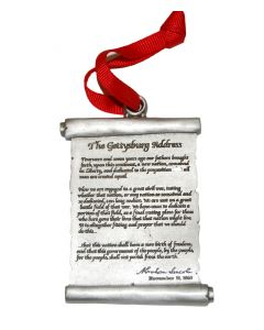 Gettysburg Address Pewter Ornament.