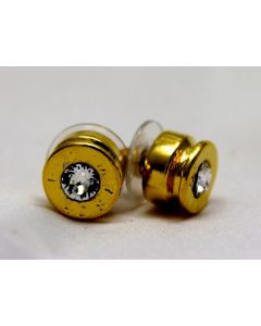 Lizzy Bullet Stud Earrings, Traditional Gold with Crystal