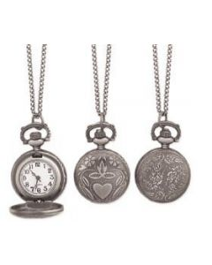 Antiqued Silver Metal Pocket Watch Long Necklace